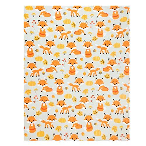 Manta de zorro, adorable supersuave, extra grande, manta de zorro y calabaza para adultos, niños y niñas, manta de forro polar (50 x...