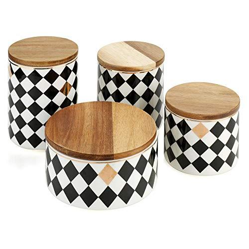 Keramikdosen-Set mit Bambus-Deckel, feuchtigkeitsfest, Porzellan, Küchenbehälter, Vorratsdosen mit breiter Öffnung, mit luftdichtem Deckel für Tee, Kaffee, Zucker, Gewürze (4er-Set)
