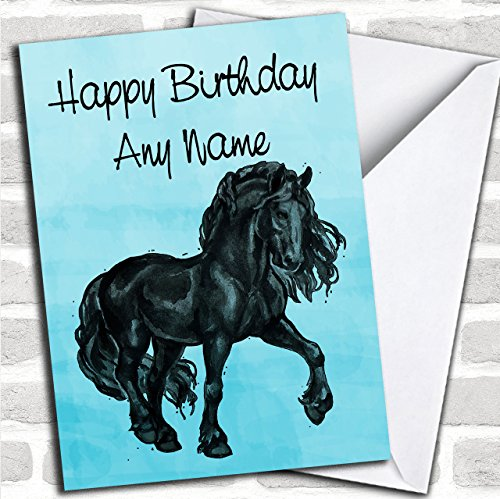 Blue Watercolor Friese Paard Aangepaste Verjaardag Groeten Kaart- Verjaardagskaarten/Dieren, Wildlife & Huisdieren Kaarten