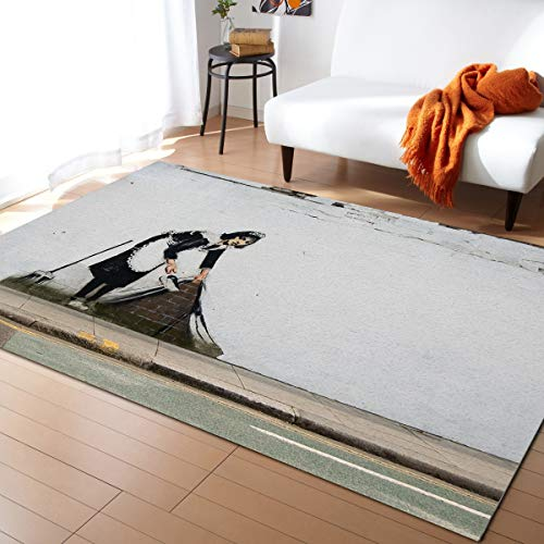 Banksy Graffiti Large Area Rugs 5' x 8', Throw Carpet Floor Cover Nursery Rugs For Children/Kids, Dust Under The Rug Regents Park Road London UK Modern Kitchen Mat Runner Rugs For Living Room/Bedroom