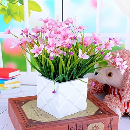 KTZAJO 2021 Las plantas artificiales Laest, decoración de boda, margaritas falsas en blanco piquete valla paquete de flores artificiales Louis simulación jardín pequeña planta (color: B) (color: rosa)