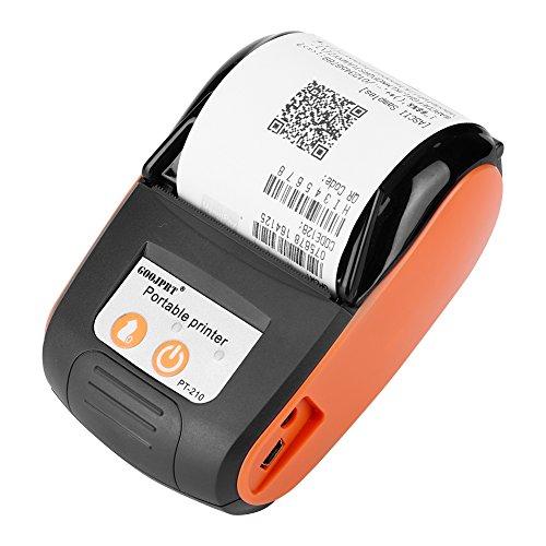 Richer-R Tragbar Mini 58mm POS Drucker, Portable Mini Wireless Bluetooth 58mm High Speed Thermodirektdrucker,Drahtloser Thermodrucker Belegdrucker Kassendrucker für Android IOS Windows(Orange)