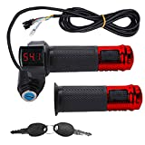 CDIYTOOL 1Pair E-Bike Throttle Grip with LCD Battery Voltage Display Key Knock, Universal Electric Bicycle Scooter Wire Twist Throttle Grip (Red)
