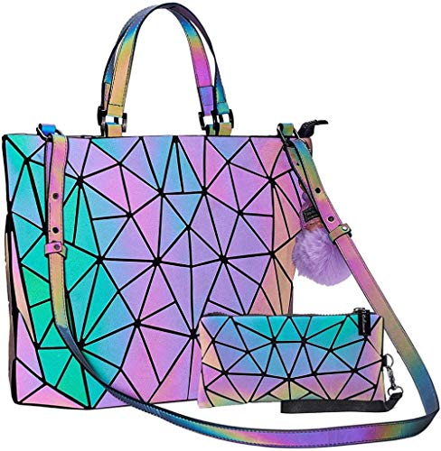 Handbag Luminous Women Tote Bag Holographich Purses and Handbags Flash Reflactive Crossbody Bag for Women,Small Handbag With Handpurse