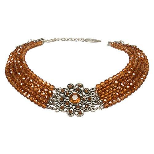 Alpenflüstern Perlen-Kropfkette Elvira Trachtenkette, eleganter Damen-Trachtenschmuck, Dirndlkette braun DHK201