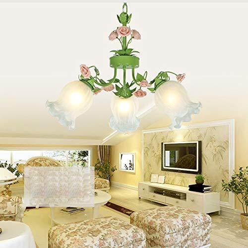 ChangHua1 Araña de Flores de jardín de Hierro Sala de Estar lámpara de Restaurante Creativa de Moda Dormitorio romántico iluminación Minimalista Moderna 640 * 440 (mm) 5 Cabeza