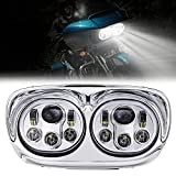 OXMART Motorcycle Dual LED Projector Headlights Lamp with Angle Eye Fit for Harley Davidson Harley...