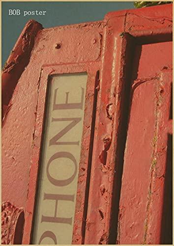 H/A Autobuses Rojos De Londres Y Cabinas Telefónicas Torre De Londres Pintura Retro Sin Marco Wallpapercafé-Bar Carteles Antiguos Decorados D1064 50X70Cm