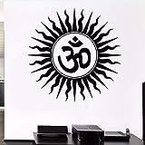 Pegatinas De Pared Hindúes Religiosos India Símbolo Sánscrito Tatuajes De Pared Decoración De Dormitorio Para El Hogar Vinilo Extraíble Yoga Mural De Pared 57X57 Cm