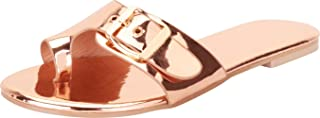 Women's Toe Ring Buckle Slip-On Flat Slide Sandal