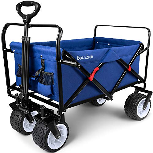 BEAU JARDIN Folding Wagon Cart 300 Pound Capacity Collapsible Utility Camping Grocery Canvas Portable Rolling Buggies Outdoor Garden Sports Picnic Heavy Duty Shopping Wide All Terrain Wheels Blue