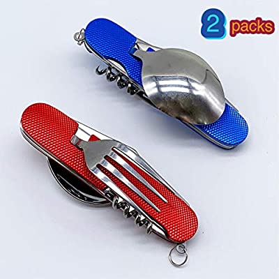 6-in-1 Multi-Function Camping Flatware Utensil Folding Knife Cutlery Detachable Pocket Kits with Carrying Pouch (2 Packs: Blue + Red)