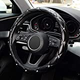 KAFEEK Diamond Soft Leather Steering Wheel Cover with Bling Bling Crystal Rhinestones, Universal 15 inch Anti-Slip