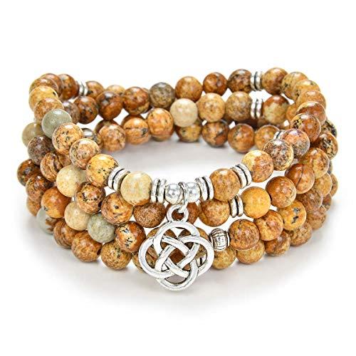 oasymala 108 Mala Meditation Beads Yoga Bracelet or Necklace with Celtic Knot Charm (Picture Jasper)