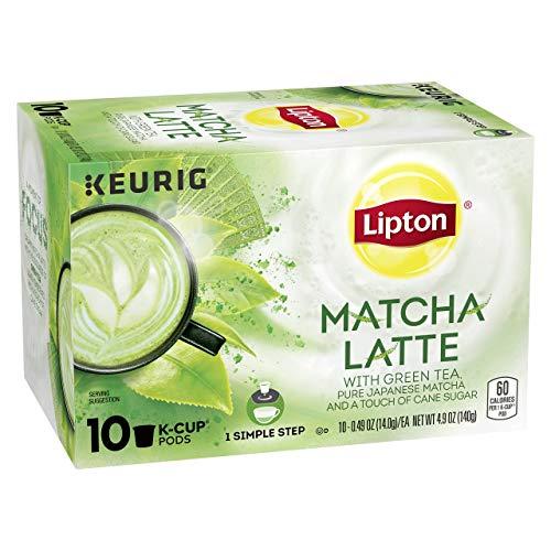 Lipton 1-Step Tea K-Cups Matcha Latte with 100% Rainforest Alliance Certified Green Tea 10 Count.