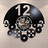 BFMBCHDJ Engranajes y Engranajes Arte de Pared Steampunk Adornos Decoración Disco de Vinilo Reloj de Pared Regalo para Ciclista Ciclismo Fan Ruedas dentadas Reloj Retro