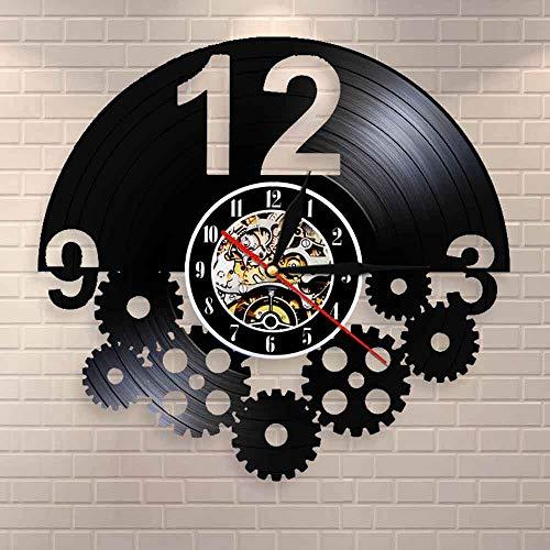 Tbqevc Engranaje decoración de Pared decoración Disco de Vinilo Reloj de Pared Regalo para Ciclistas Ventilador Reloj Retro 12 Pulgadas