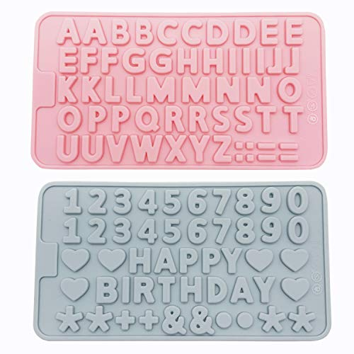 QZDADA Molde de números de Letras de Silicona de 2 Piezas, Molde de Chocolate del Alfabeto de símbolos de Feliz cumpleaños, Bandeja de decoración de Galletas de Caramelo