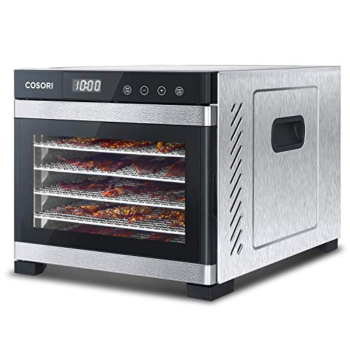 COSORI Premium Food Dehydrator Machine(50 Free Recipe Book), 6 Stainless Steel Trays w/Digital Timer & Thermostat Preset for Beef,Jerky,Fruit,Dog Treats,Herbs,2 Year Warranty,ETL Listed/FDA Compliant