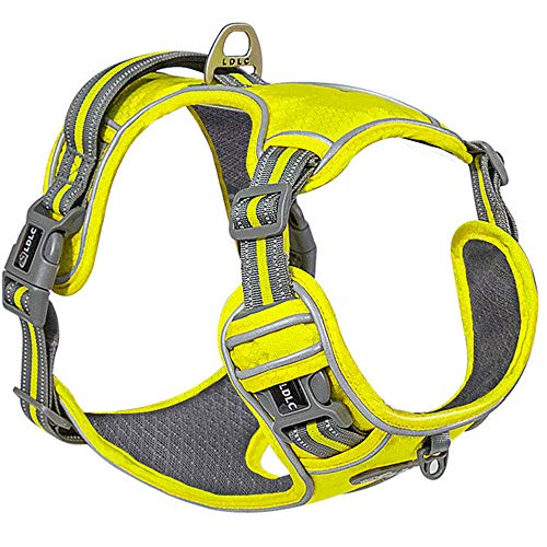 PetLover Dog Harness, No Pull Fashion Dog Vest with Leash Clips, Breathable Mesh and Adjustable Straps, Snap Buckles for Easy On and Off, Reflective Dog Harness for Small Medium Large Dogs, Yellow M