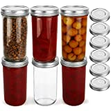KAMOTA Wide Mouth Mason Jars 22 oz With Wide Mouth Lids and Bands, Ideal for Jam, Honey, Wedding Favors, Shower Favors, Baby Foods, DIY Magnetic Spice Jars, 6 PACK, 6 Silver Pipette Covers Included
