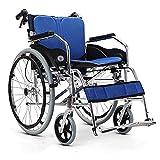 HIGHKAS Silla de Ruedas Plegable y Ligera, portátil, Ancianos, discapacitados, andadores manuales, Asiento Suave y...