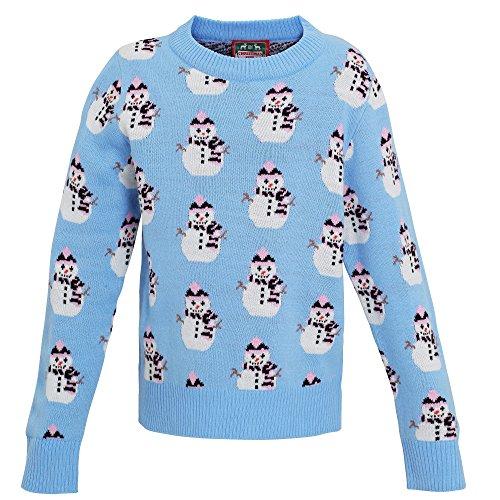 Christmas Shop - Jersey de punto con diseño de muñeco de nieve para niña (5-6 Años/Azul claro)