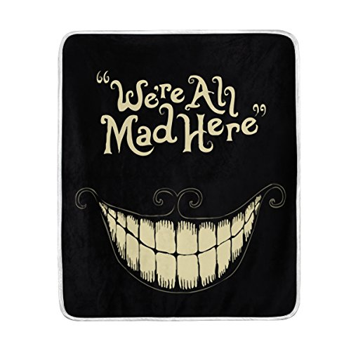 TSWEETHOME Fleece Blanket Super Soft Warm Fuzzy Anti-Static Double-Sides Reversible Lightweight Bed or Couch Sofa Blanket with Words We're All Mad Here Throw Blanket (50x60 in)
