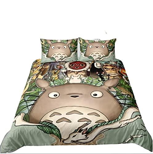 AmenSixye Juego de Cama con Estampado 3D de Totoro, Funda de edredón, Fundas de Almohada, edredón, Ropa de cama135x200cm 2pcs