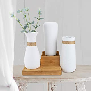 Nilos White Ceramic Vases Set of 3, Table Centerpieces Vase with Rope Design and Differing Unique Shapes for Flowers, Home Decoration