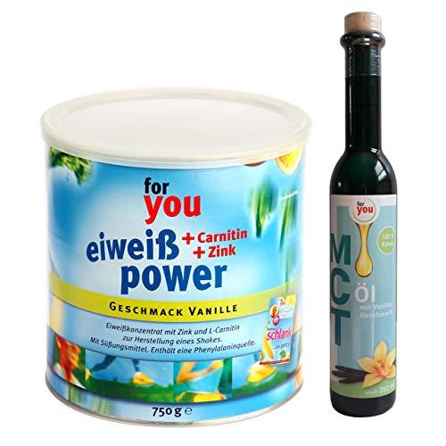 for you Power Eiweiß Vanille + MCT-Öl Vanille im Set I 1x 750g Fitness Eiweisspulver mit Carnitin Whey-Protein Sojaprotein Milchprotein I 1x 250ml MCT Öl vegan auf Basis 100% Kokosöl