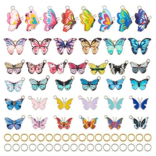 PandaHall 80 Piezas 40 Estilos de Mariposa Impresa de aleación esmaltada Colgantes con 80 Piezas de...