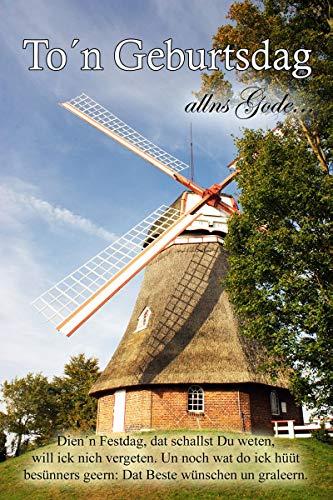 Yabue Plattdeutsch Geburtsdag Geburtstag Foto-Karte Grußkarte Mühle 16x11cm
