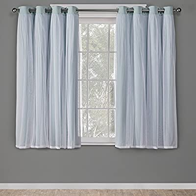 Exclusive Home Curtains Catarina Layered Solid Blackout and Sheer Window Curtain Panel Pair with Grommet Top