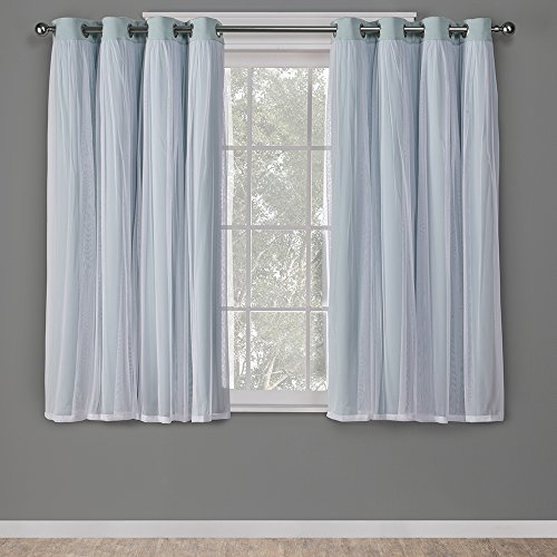 Exclusive Home Curtains Catarina Layered Solid Blackout and Sheer Window Curtain Panel Pair with Grommet Top, 52x63, Aqua, 2 Count