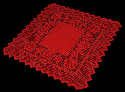 Table Topper Grega Design Brazilian Lace 29x29 Inches Red Color 100 Percent Polyester