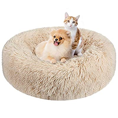 BAIXIXIG Soft Plush Round Donut Pet Bed is Suitable for Small and Medium Pets, Comfortable Luxury cat & Dog Bed,Non-Slip Bottom,23.6'' Champagne Color