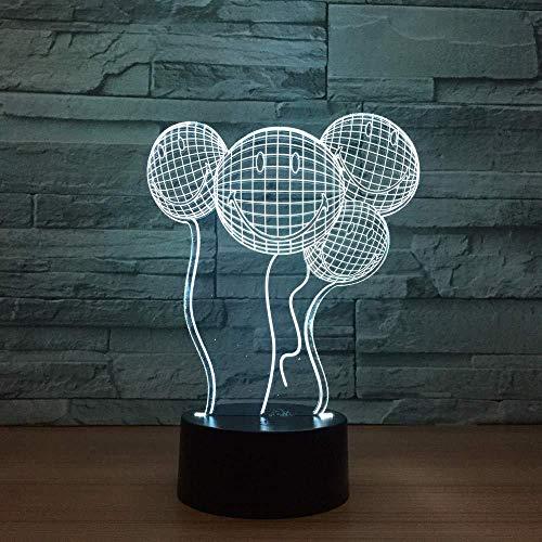 3D Illusie lamp Smiley Balloon Nachtlampje Geschikt voor Kinderen Familie Vrienden Verjaardag Valentine USB 7 Kleuren (Afstandsbediening)