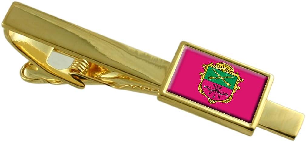 Zaporizhia City Ukraine Flag Gold-tone Engraved Tampa Mall Persona Tie Clip Fixed price for sale