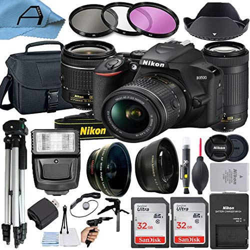 Nikon D3500 DSLR Camera 24.2MP with NIKKOR 18-55mm VR and 70-300mm Dual Lens, 2 Pack SanDisk 32GB Memory Card, Bag, Tripod, Slave Flash Light and A-Cell Accessory Bundle (Black)