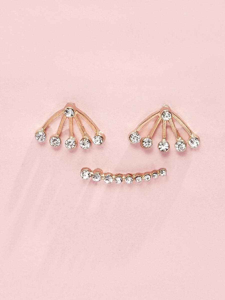 Hoop Earrings 1pair Rhinestone Decor Earring Jackets & 1pc Ear Cuff (Color : Gold)