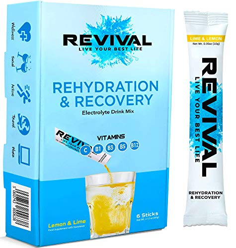 Revival Rapid Rehydration Electrolytes Powder - High Strength Vitamin C, B1, B3, B5, B12 Supplement Sachet Drink, Effervescent Electrolyte Hydration Tablets - 6 Pack Lemon Lime
