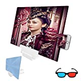 ZHEDYI 20 Inch Foldable Universal Screen Amplifier,Portable Mobile Phone 3D HD Screen Magnifier, Screen Enlarger Phone Projector,Compatible with All Smartphones (Color : White, Size : 20in)