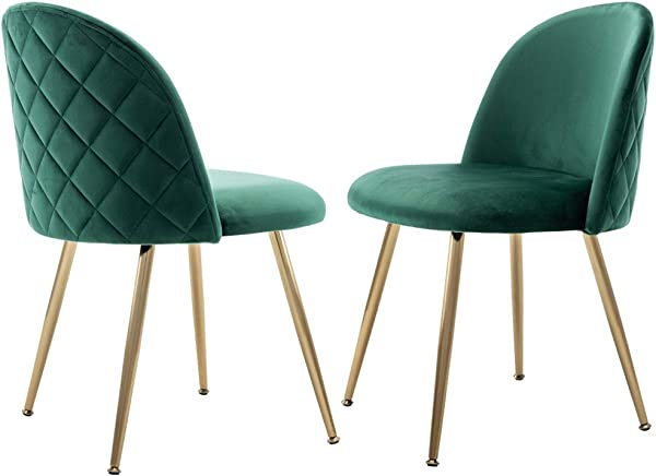 Velvet Dining Chairs Set Upholstered Side Chairs For Living Room Modern Accent Chairs With Gold Metal Legs Set Of 2 Green Chairs