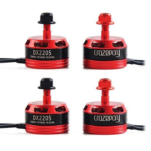 Crazepony 4pcs DX2205 2300KV Brushless Motor 2CW 2CCW 2-4S Lipo in Red for QAV210 X 220 QAV250 FPV Racing Drone Quadcopter (Red)
