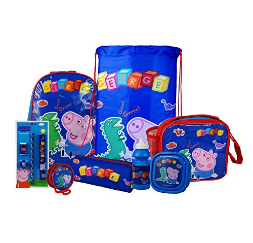 Peppa Pig George 8PC Back to School Bundle - inc Backpack, Drawstring Sports Bag, Insulated Lunch Bag, Sandwich Box, Water Bottle, Coin Pouch, Pencil Case & Stationery Set.