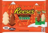 REESE'S Peanut Butter Trees for Christmas, Milk Chocolate and White Crème Festive Holiday Candy for Parties, Gift Bags and Baskets, 1.75 oz. packs (Pack of 12)