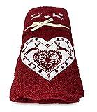 tex family - Juego de toallas tirolesas con corazón y ciervo rojo