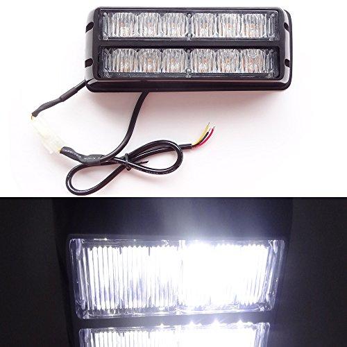 12W 12 LEDs Feux de Pénétration Lumière Stroboscopique Eclairage Clignotant à 13 Modes pour Voiture Camion véhicule SUV DC 12-24V (Blanc)
