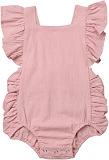 ITFABS Baby Girl Cotton Romper Bodysuit Clothes Ruffles Backless Solid Romper Jumpsuit One-Piece Sunsuit Summer Outfit